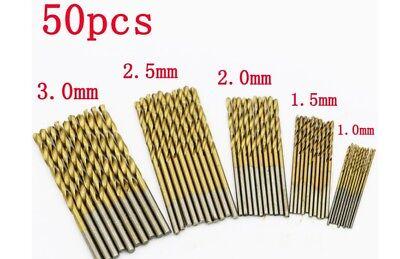 50pcs Hss Metric Drill Bit Set Titanium Coated Twist Drills Metal Wood 1-3mm