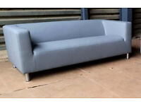 Ex Display Moda Faux Leather 3 Seater Sofa - Grey.