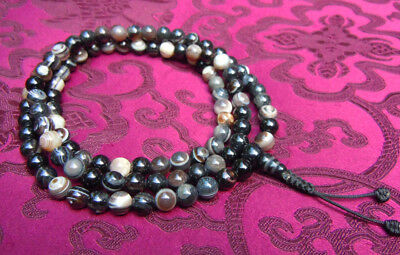 Wonderful Mala Prayer Beads with Augenachat Agate Healing Stone from Nepal 8mm