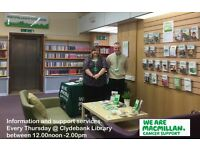 Volunteer to support people affected by cancer at Macmillan @ Clydebank Library