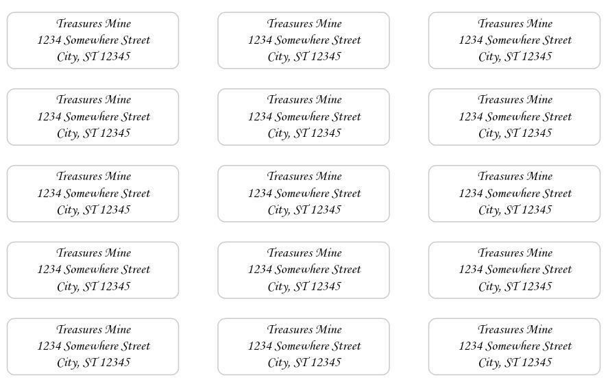 60 Large Return Address Labels. 2.25 X 0.75 Inches. Ships Free. - $3.75