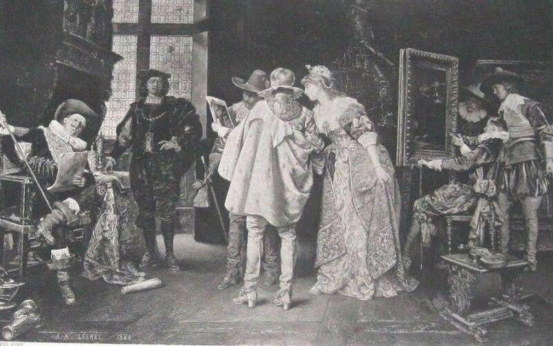 1887 Steel Etching Art Print Flemish Nobles Visit Studio Of Rembrandt By Lesrel