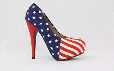 "Women's Size 7 Stiletto Platform American Flag 5"" Heel Sexy July 4th Festive NIB (White Stiletto)"