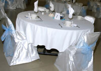 White Satiny Chair Covers (150 for $375) or (240+ for $600 inclu