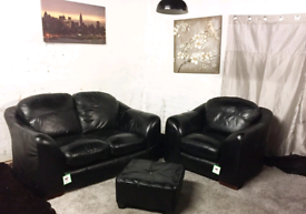 ; Real leather Black 2 seater sofa with chair and matching footstool