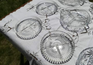 Vintage Wedding Decor Glass Dishes Pickle Dishes Cut Glass