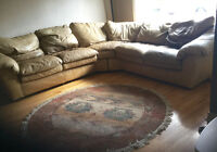 Sectional leather couch.