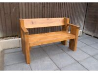 Chunky rustic garden bench Heavy and built to last