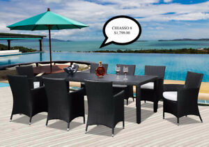 Outdoor Aluminum Resin Wicker/Acacia Wood Dining Sets