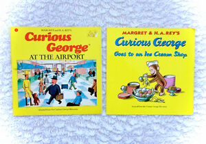 Vintage Curious George Book Lot of 2 Icecream Shop Airport 1987
