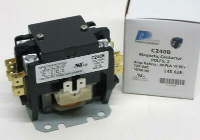C240b Double Two 2 Pole 40 Amp 120 Volts Ac Contactor