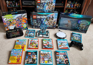 Nintendo Wii U Deluxe Set with Ext Warranty, Controllers & Games