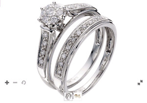 Engagement and Wedding ring set 9kt white Gold