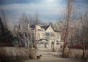 "Toronto Artist Roxann Vivian Smith ""The White House"" Watercolor Stratford Kitchener Area image 2"