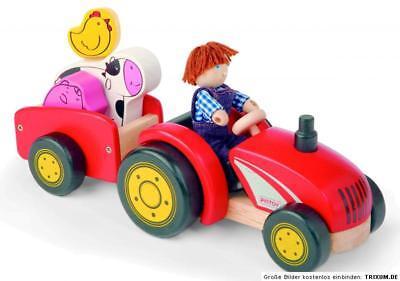 Pintoy Traktor mit Bauer & Anhänger Holzspielzeug Farmer Bauernhof Holz NEU