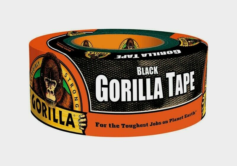 Gorilla Duct Tape BLACK UV & Moisture Resistant Repairs Crafts 1.88 in x 12 yd