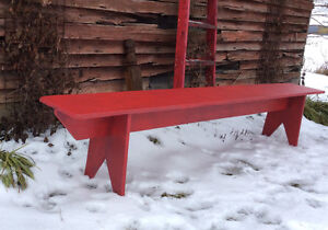 Red Farm Style Bench - 8 ft. long