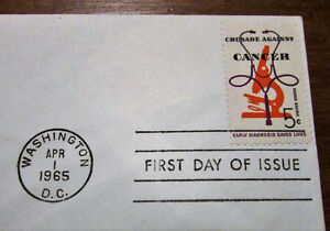1965 'Crusade Against Cancer' 5 Cent First Day Cover Kitchener / Waterloo Kitchener Area image 4