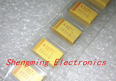100pcs 7343 Smd Tantalum Capacitors 16v 100uf 107c D-type Accuracy 10