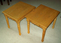 Pair of light wood end tables with drawers