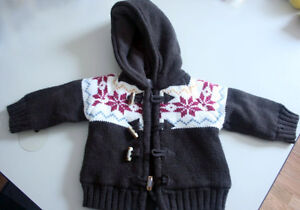 Baby sweater hoodie, 3-6 mo