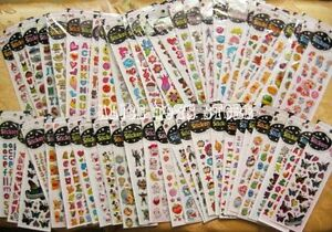 Bling-children-anime-Educational-stickers-greeting-card-mixed-lot-20-sheets-New