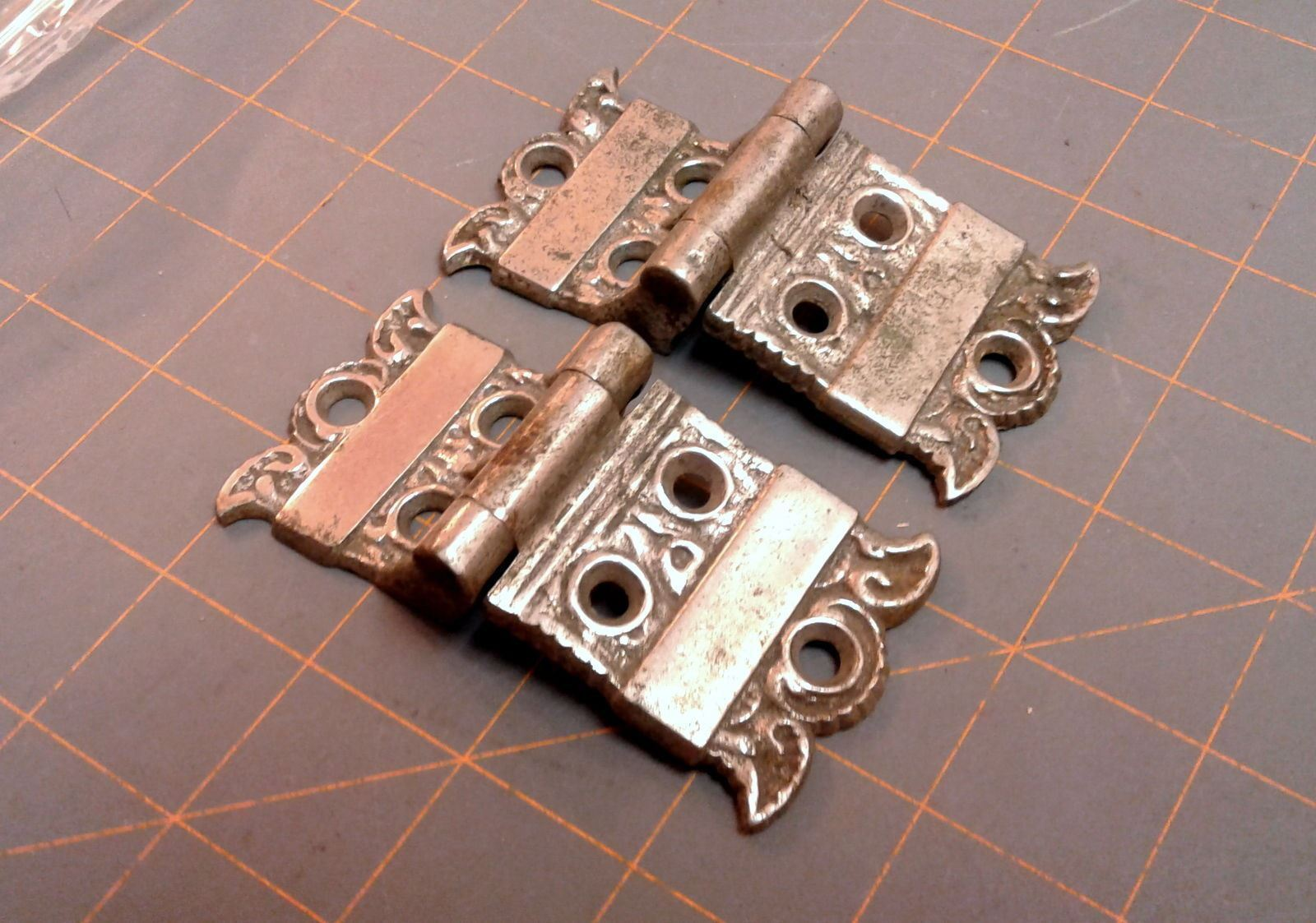 Antique Ice Box Door Hinges PAIR Victorian Cast Brass Nickle Plated Circa 1900  - $29.00