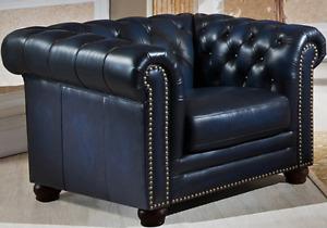 Nebraska Chesterfield Top-grain genuine Leather couch