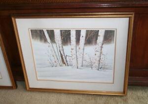 """Framed James Bessey """"Winter Garden"""" Watercolour Art Signed"""