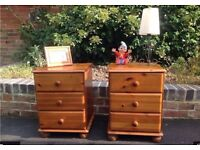 Two solid pine bedside cabinets, vintage shabby chic project