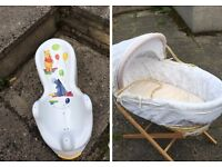 Baby bath seat & moses basket and stand