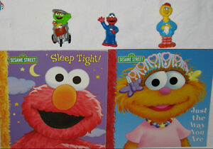 2 x Sesame Street Books & 3 Toy Figures (Lot # 1)