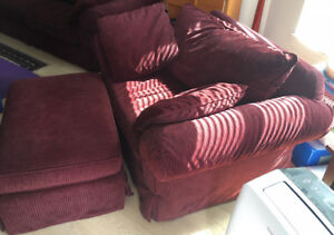 Love Seat and Ottoman, with Two Pillows