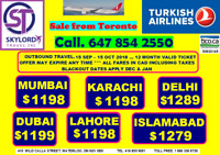 Cheap Flight to India, Pakistan T. 647-854-2550