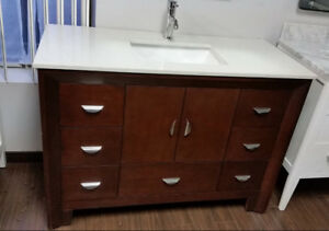 Stylish Modern bathroom vanity set with top sink 4-ft