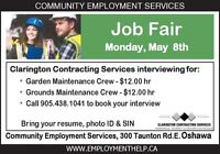 4 Job Fairs in May Full time Employment