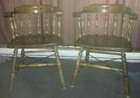 Pair of vintage solid wood pub chairs