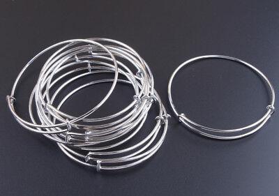 10PCS Silver Tone Expandable Wire Bangle Bar Bracelets