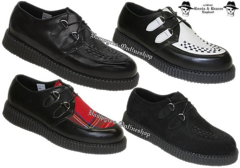Boots & Braces Creepers New Schwarz Weiß Tartan Rot Creeper Leder And Schuhe