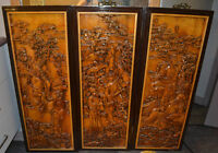 3 ANTIQUE CHINESE HIGH RELIEF CARVED WOOD FRAMES-TRADES OK