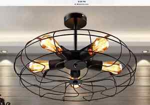 Retro Industrial 5-light 'Fan Cage' Style Ceiling Fixtures NEW