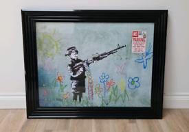 Banksy - Boy with Crayon Gun liquid Art print (Framed) 95 x 75cm
