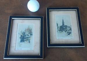 2 Tiny British Prints, Merton College, St. Enochs Church Kitchener / Waterloo Kitchener Area image 1