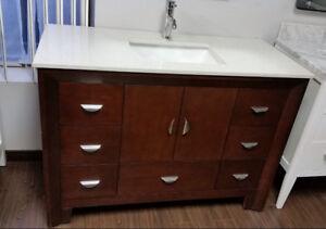 Stylish Modern bathroom vanity set with top sink 4-ft