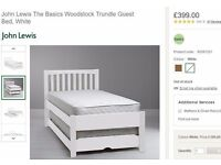 White John Lewis Woodstock Guest Bed Frame, Single with Trundle, NEW