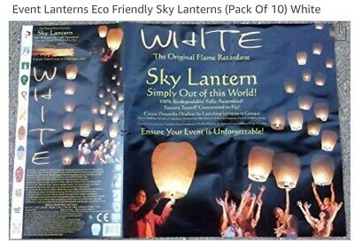 Floating Chinese Lanterns (White Paper Chinese Floating Lanterns - Biodegradable - Eco-Friendly - 10)