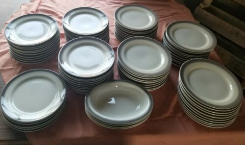 8) VTG  BUFFALO CHINA RESTAURANT WARE DINNER PLATES~FARMHOUSE BRUSHED GRAY RIM~