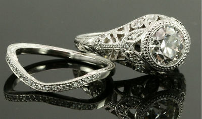 Vintage Antique Style 2 CT Signity Diamond Wedding 2pcs Bridal Ring Set All - Diamond Antique Style Ring Setting