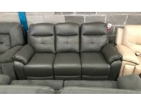 High retail grey leather reclining sofa