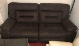 Harvey's Kinman Brown 3 seater recliner sofa